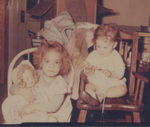 Linda and Janie Mundy in Heilmans house after tornado 1948