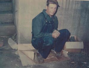 Dan Mundy in Washhouse Cellar where family his during May 1 1948 tornado